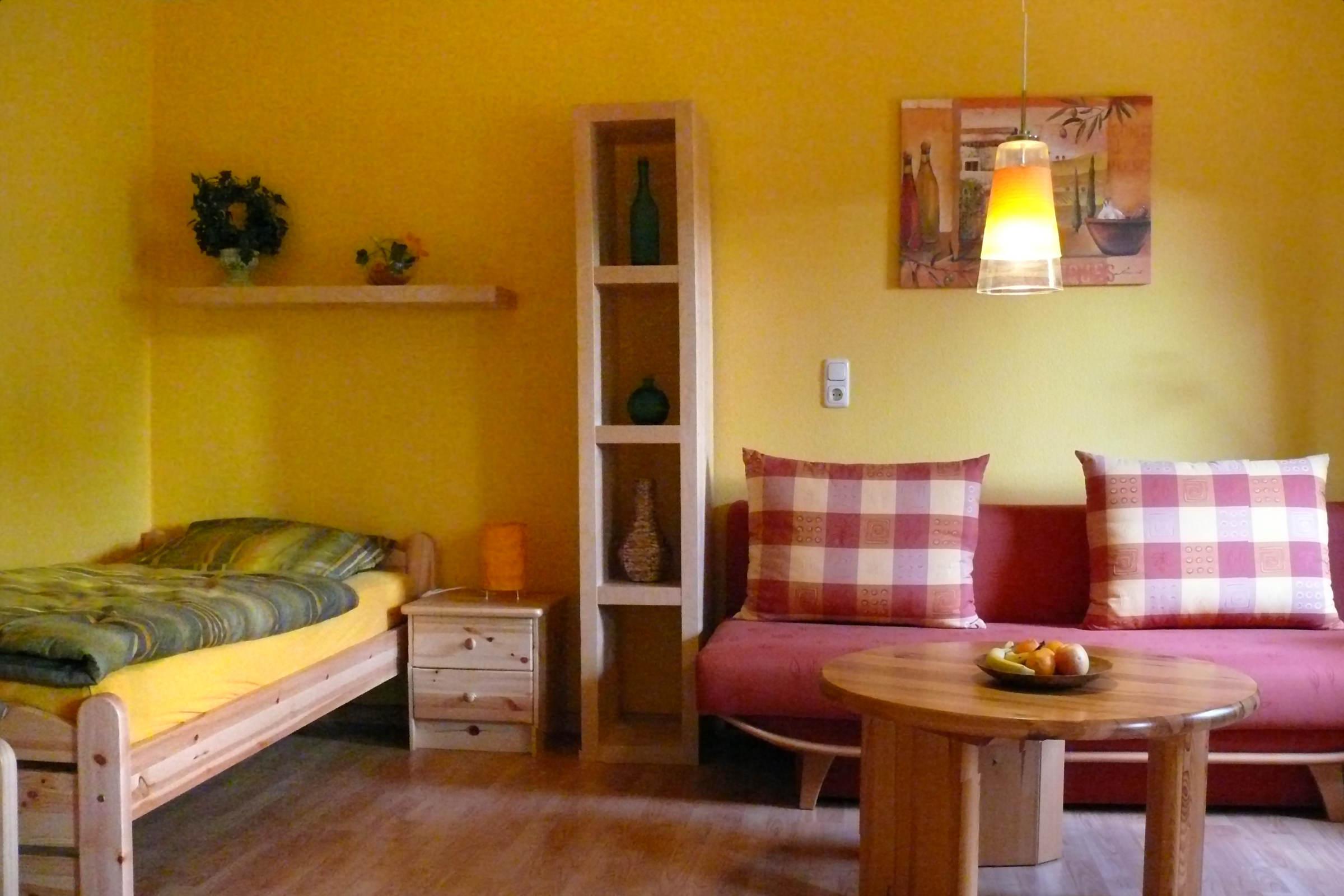 Wohn- Schlafbereich der Ferienwohnung